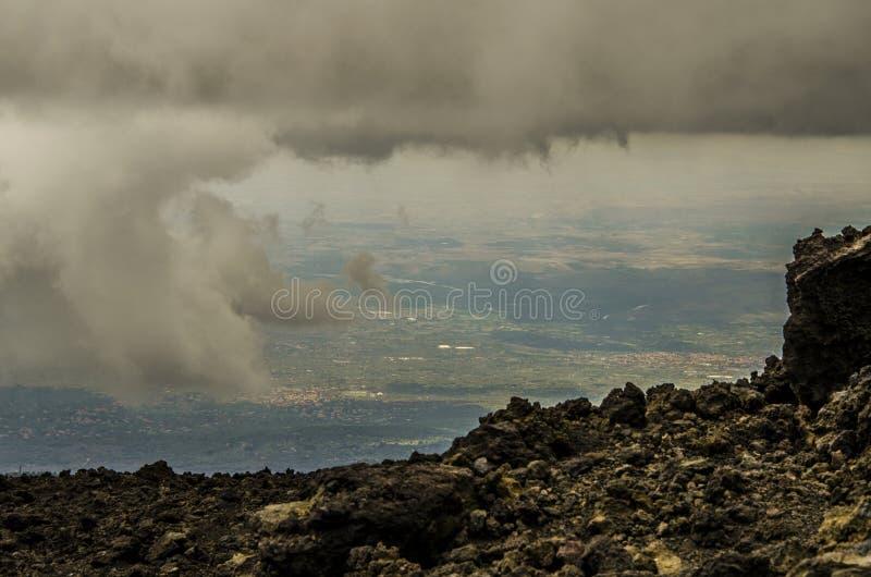 Vista das alturas de Etna Sicily fotografia de stock royalty free