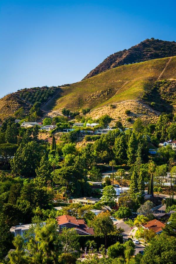 A vista das casas e os montes em Hollywood do lago canyon conduzem dentro imagens de stock