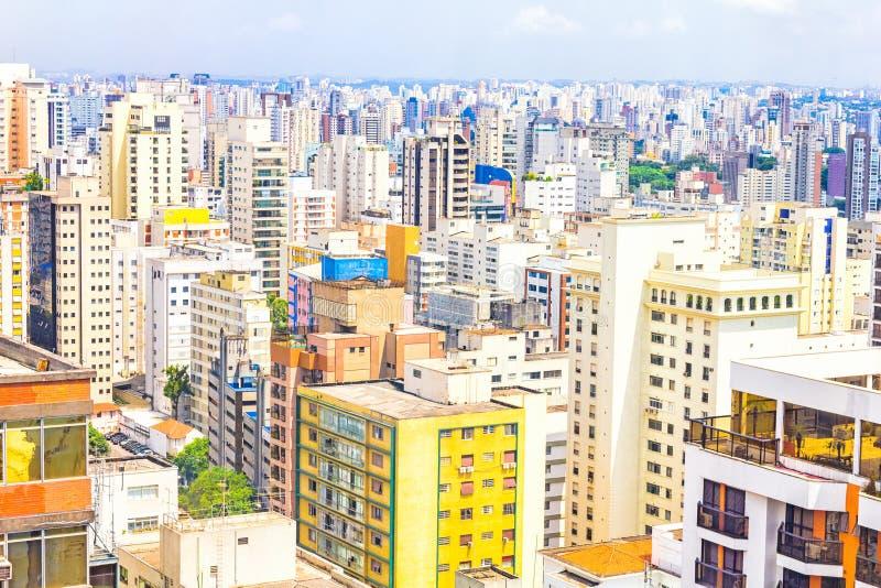 Vista das construções em Sao Paulo fotografia de stock