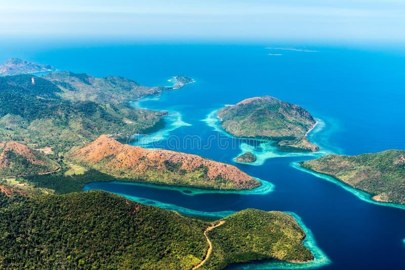 Vista das ilhas, Filipinas Copie o espaço para o texto Vista superior foto de stock royalty free