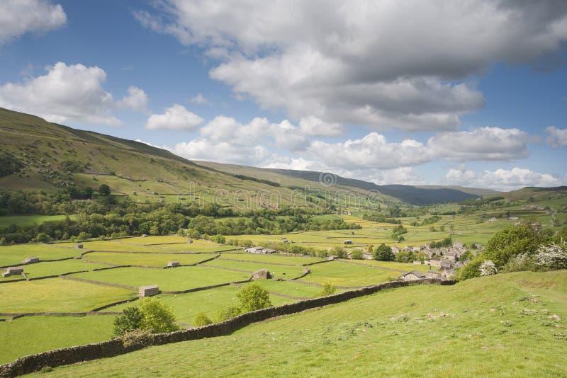 Vista das paredes de pedra e dos prados, Swaledale fotos de stock royalty free