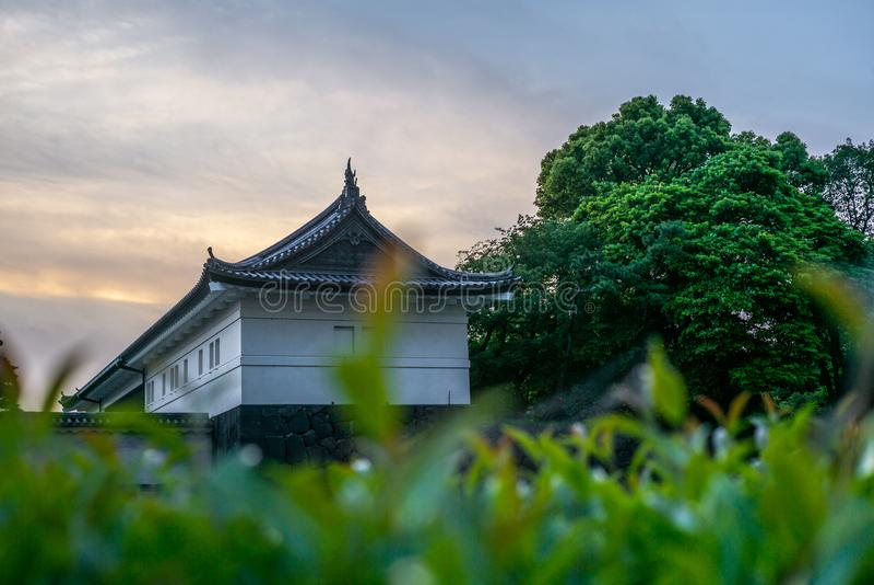 Vista das paredes dos jardins imperiais no Tóquio no por do sol - 2 imagem de stock royalty free