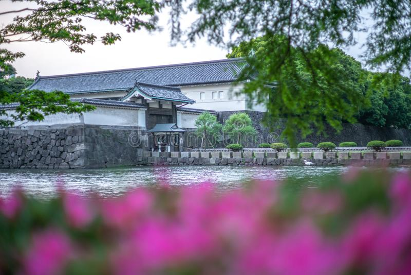 Vista das paredes dos jardins imperiais no Tóquio no por do sol - 5 fotos de stock royalty free