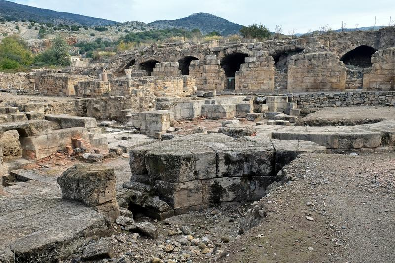 Vista das ruínas do palácio do último rei de Judea Agripp fotos de stock