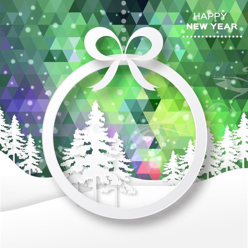 Vista de árvores do White Christmas na caixa com curva ilustração do vetor