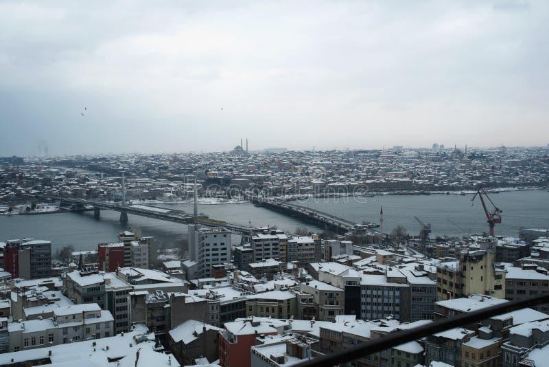 Vista de Ä°stanbul da torre de Galata imagens de stock