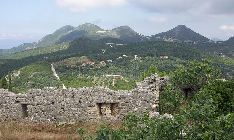 Vista de Ali Pasha Castle Parga foto de stock royalty free