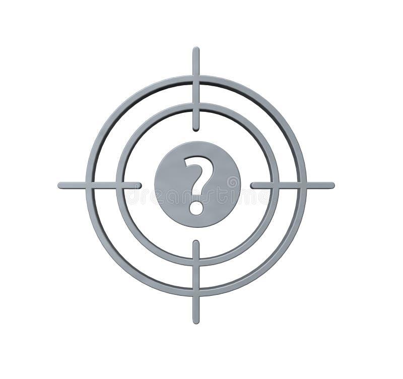 Vista de arma con el signo de interrogación stock de ilustración