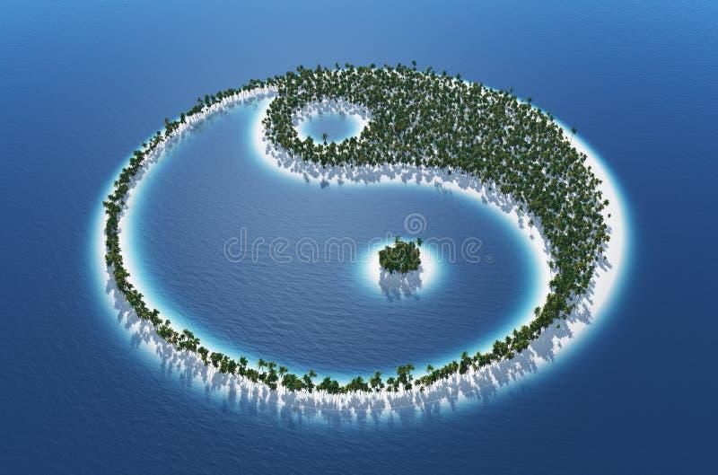 Isla tropical de Yin y de Yang fotos de archivo