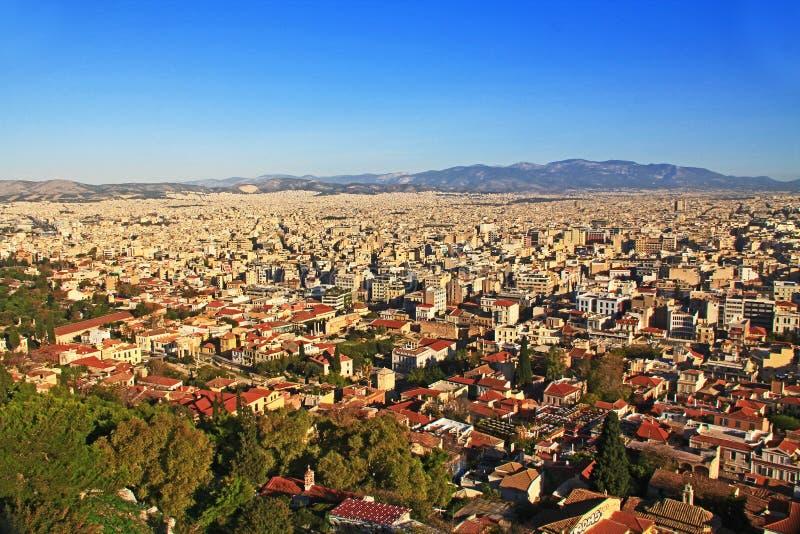 Vista de Atenas do monte da acrópole fotos de stock