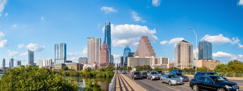 Vista de Austin, horizonte céntrico imagen de archivo