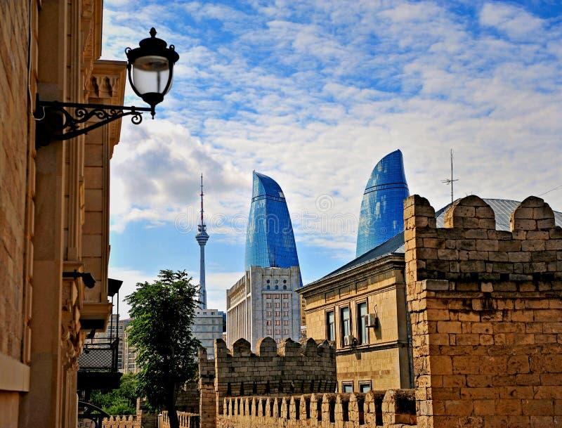 Vista de Baku céntrica, Azerbaijan imágenes de archivo libres de regalías