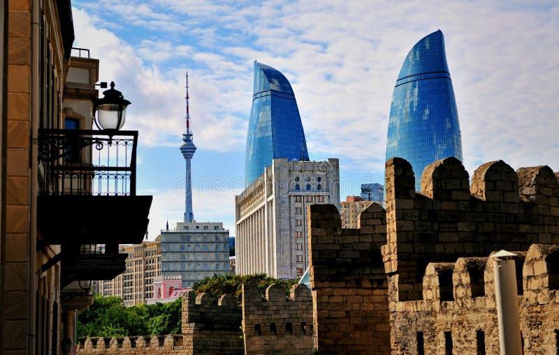 Vista de Baku céntrica, Azerbaijan foto de archivo libre de regalías