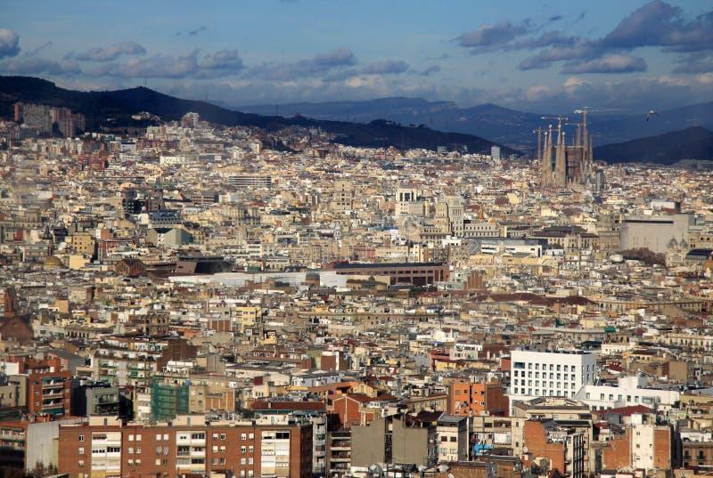 Vista de Barcelona do monte de Montjuic fotografia de stock royalty free