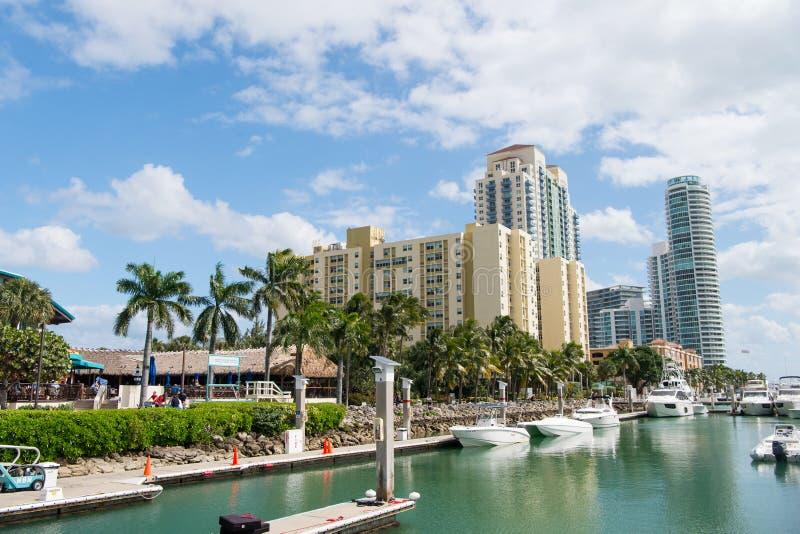 A vista de barcos luxuosos e de iate entrou do porto sul da praia de Miami em um conceito luxuoso da vida fotos de stock