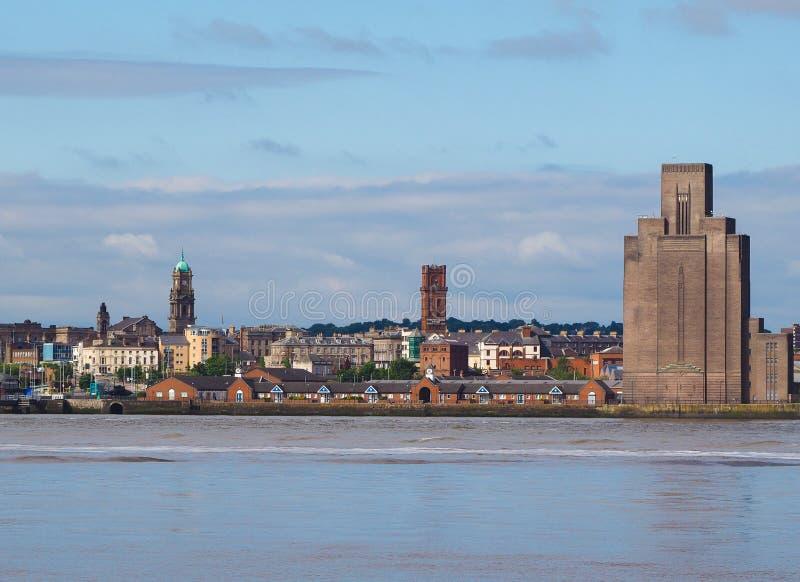 Vista de Birkenhead em Liverpool imagem de stock