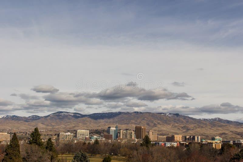 Vista de Boise do centro através de Kathryn Albertson Park fotografia de stock royalty free