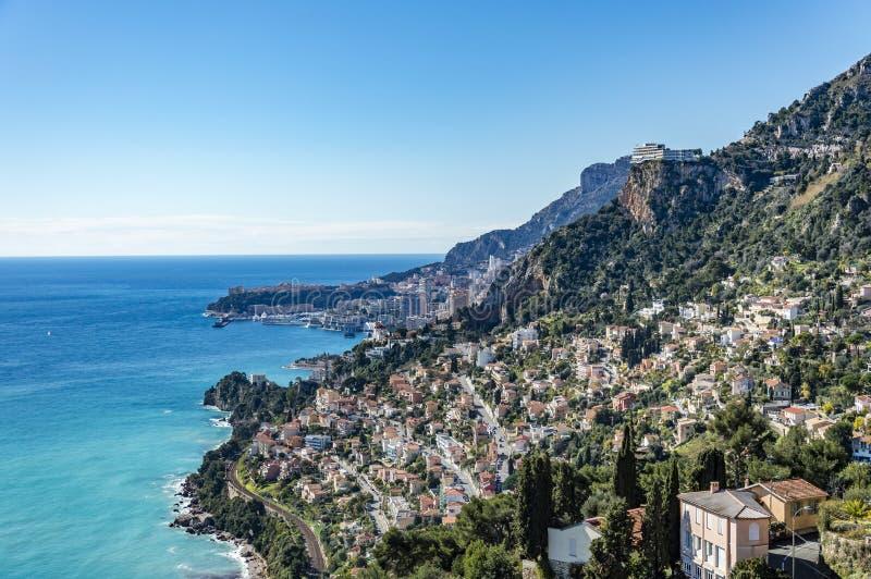 Vista de Cabbè e de Mônaco imagens de stock royalty free