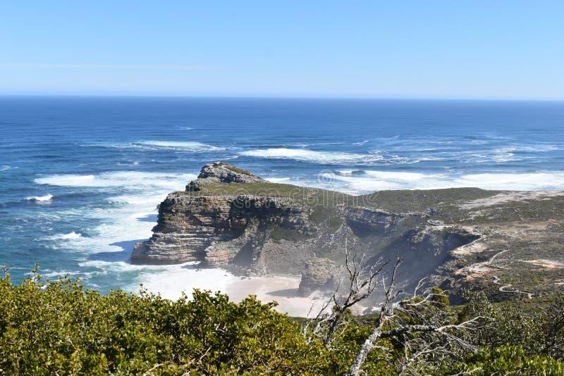 Vista de Cabo de Buena Esperanza del punto del cabo en Cape Town en el viaje de la península del cabo en Suráfrica imagen de archivo libre de regalías