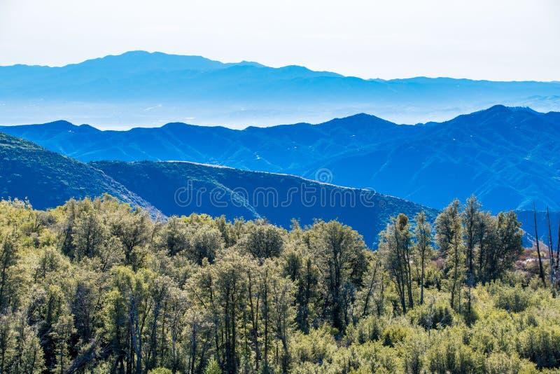 Vista de capas de montañas de la naturaleza y de árboles de la naturaleza foto de archivo