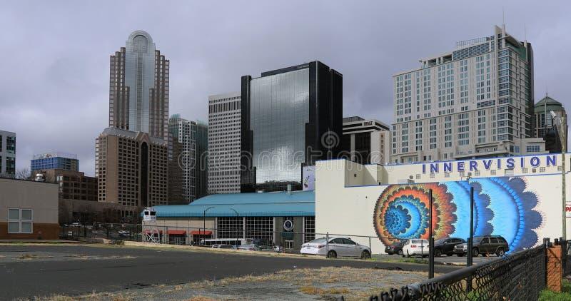 Vista de Charlotte, horizonte en Estados Unidos foto de archivo libre de regalías