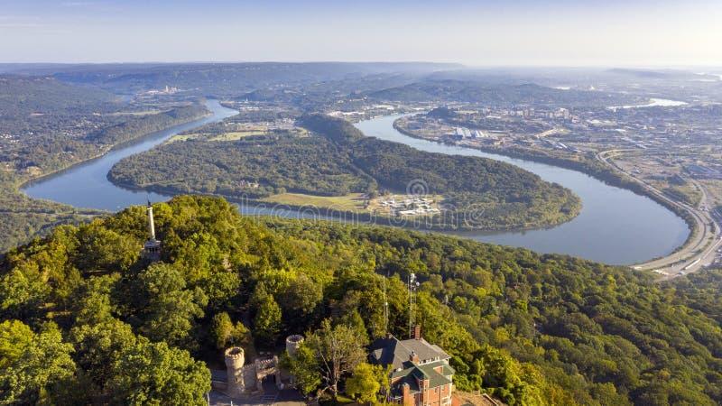 Vista de Chattanooga e do Riverfrom Lookout Mountain fotos de stock