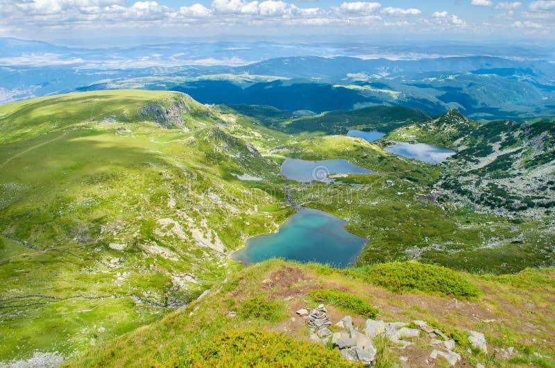 Vista de cima da abaixar, pescar, Trefoil e lagos gêmeos imagem de stock royalty free