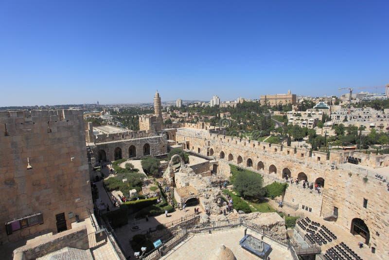 Vista de cima da torre de David imagens de stock