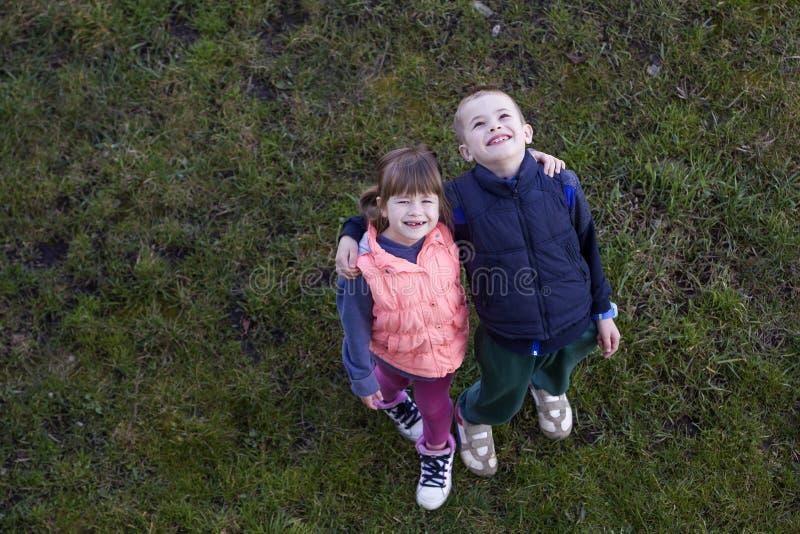Vista de cima de duas crianças bonitos na roupa ocasional, no menino e na menina estando na grama verde, abraçando-se sobre ombro imagem de stock royalty free