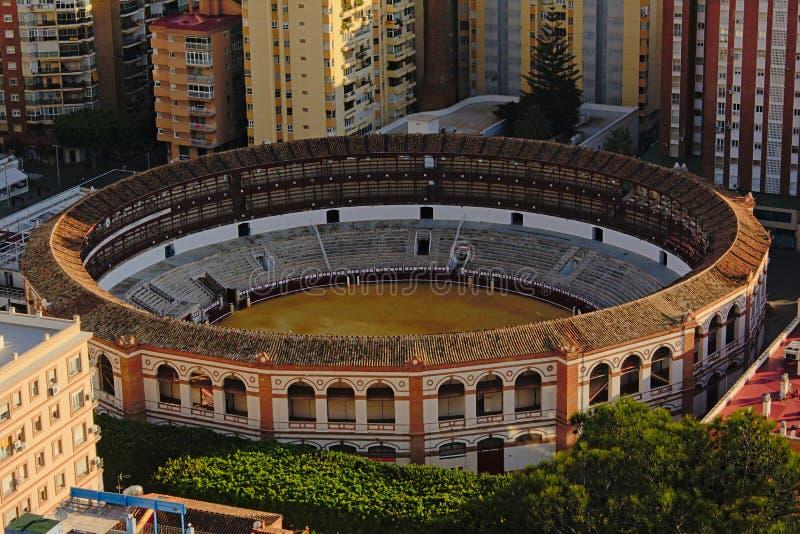 Vista de cima na arena do La Malagueta, praça de touros de Malaga fotografia de stock