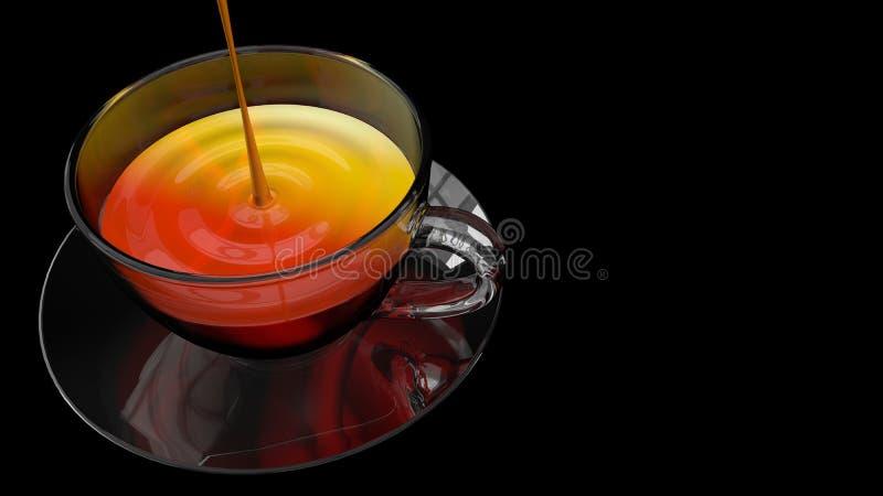 Vista de cima de um jato do líquido que enche um copo de vidro completamente do chá no prato de vidro no fundo preto ilustração do vetor