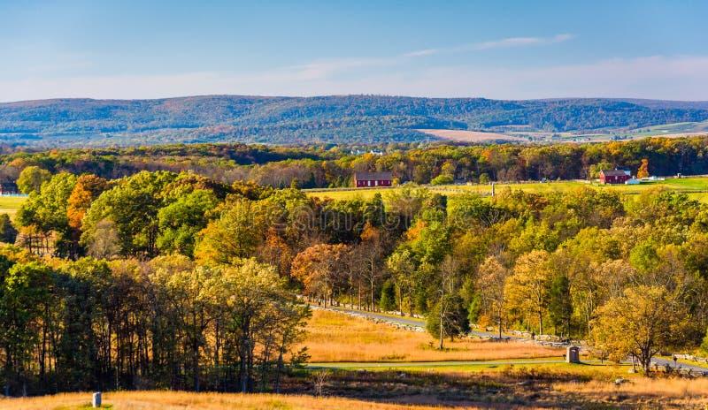 Vista de colinas y de campos de batalla en Gettysburg, Pennsylvania fotos de archivo libres de regalías
