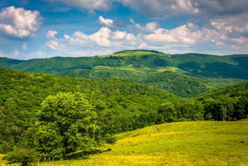 Vista de colinas y de montañas en las montañas rurales de Potomac de nosotros imagenes de archivo