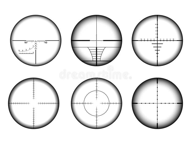 Vista de Collimato y sistema de los retículos del rifle de francotirador Iconos militares de la blanco y del objetivo de AR ilustración del vector