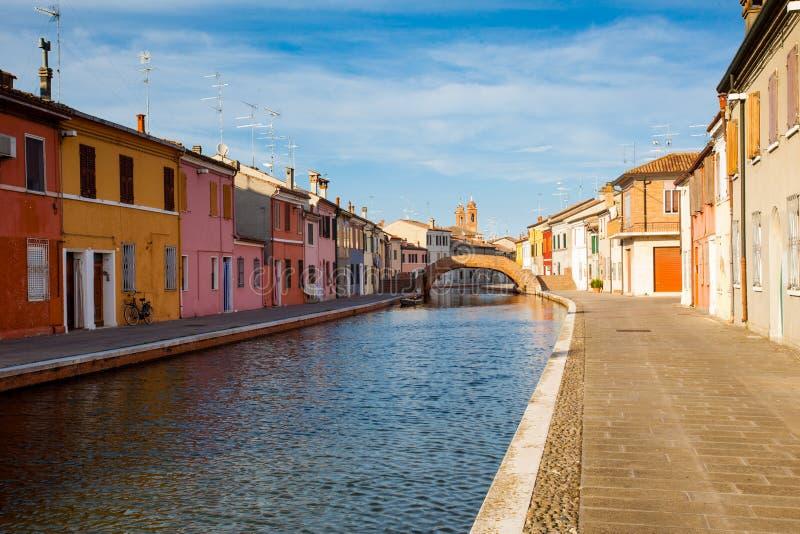 Vista de Comacchio, Ferrara, Itália imagens de stock royalty free