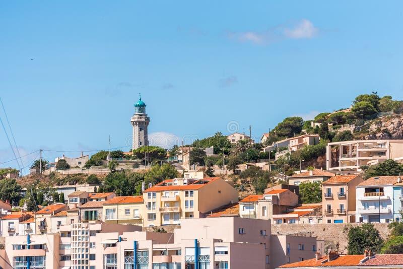 Vista de construções da cidade, Sete, França Copie o espaço para o texto imagem de stock