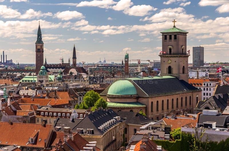 Vista de Copenhaga da torre redonda imagem de stock royalty free