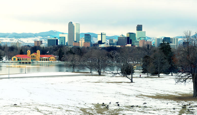 Vista de Denver do centro que nivela o lago e os gansos no foregr imagens de stock royalty free