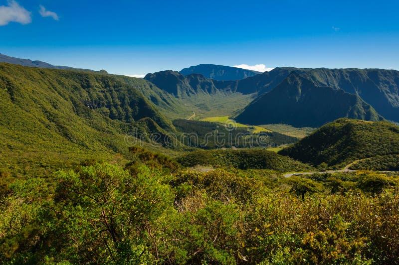 Vista de DES Palmistes de Plaine, Reunion Island foto de stock