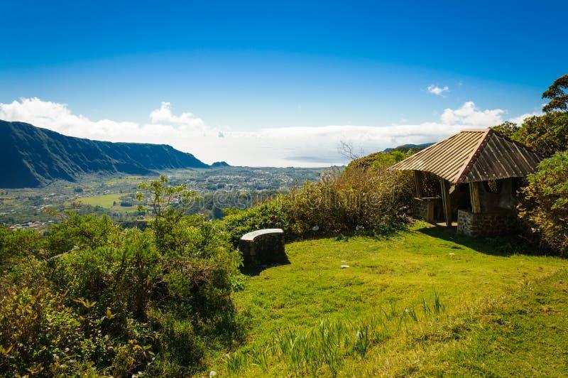 Vista de DES Palmistes de Plaine, Reunion Island imagem de stock