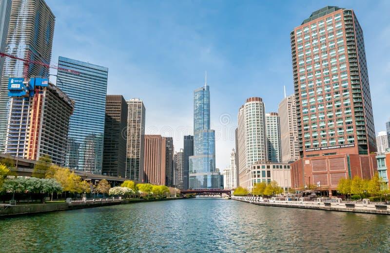 Vista de Donald Trump Tower e de arranha-céus de Chicago River no centro de Chicago, EUA foto de stock royalty free