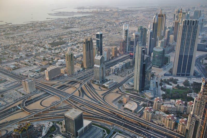 Vista de Dubai céntrico de Burj Khalifa fotografía de archivo libre de regalías