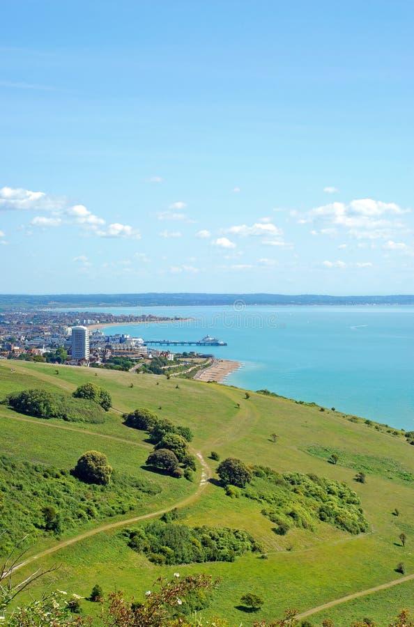 Vista de Eastbourne de las llanuras foto de archivo libre de regalías