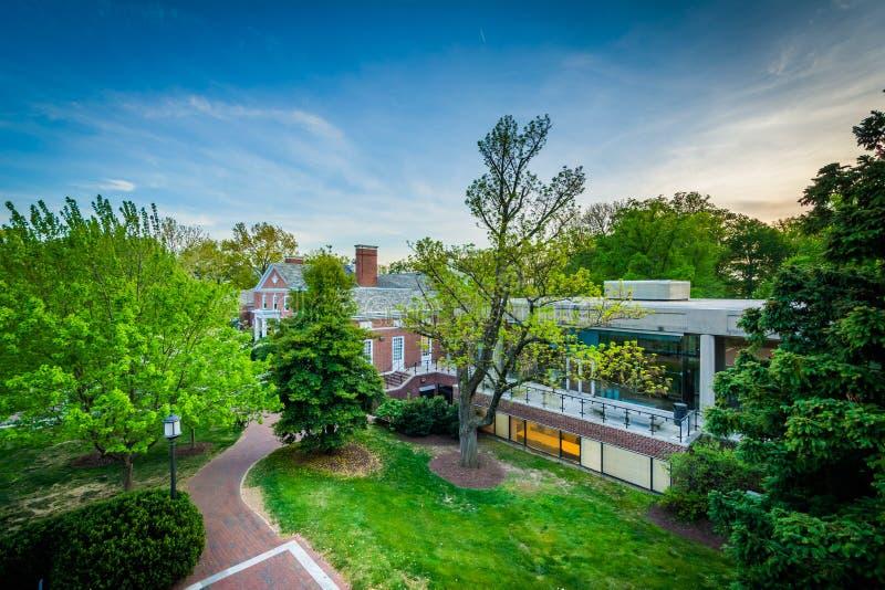 Vista de edificios y de árboles en la Universidad John Hopkins, en Balt fotos de archivo