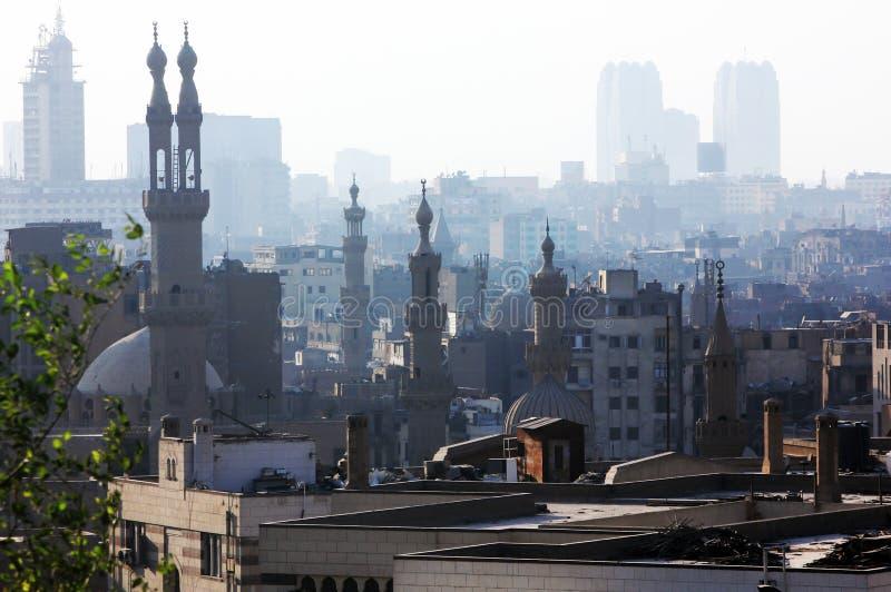 vista de El Cairo con las mezquitas en Egipto en África foto de archivo libre de regalías