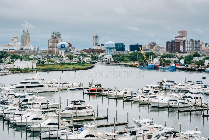 Vista de Farley State Marina e das construções em Atlantic City, New-jersey fotos de stock