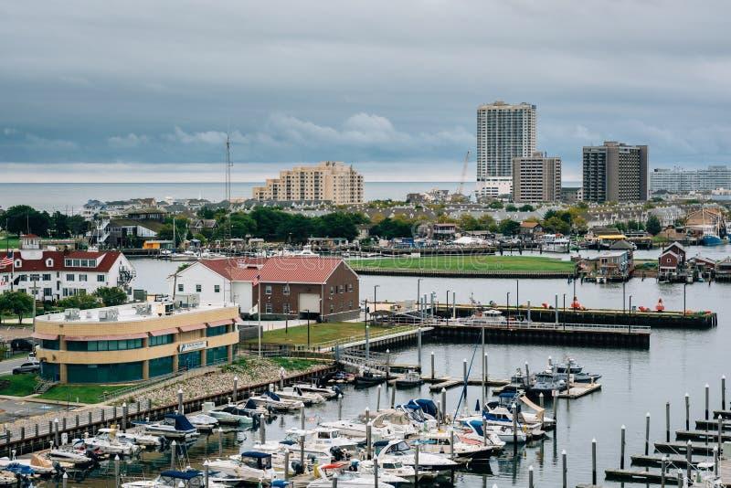 Vista de Farley State Marina e das constru??es em Atlantic City, New-jersey fotos de stock royalty free