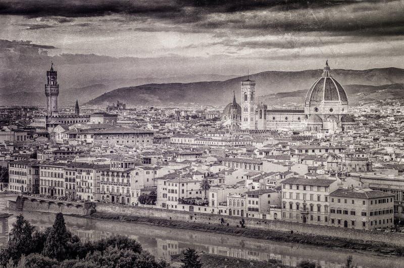 Vista de Florencia en estilo del monocromo del vintage foto de archivo