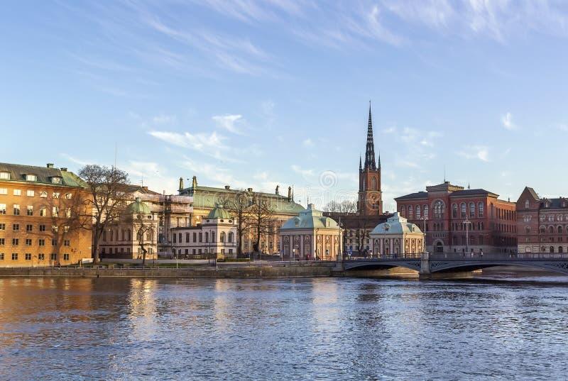 Vista de Gamla Stan y de Riddarholme, Estocolmo fotografía de archivo libre de regalías