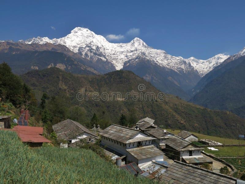 Vista de Ghandruk fotografia de stock